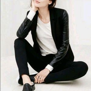 Ann Taylor LOFT Faux Leather Trim Zipper Blazer